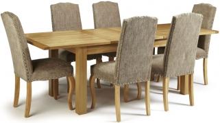 Serene Bromley Oak Dining Set - Extending with 6 Kensington Bark Chairs