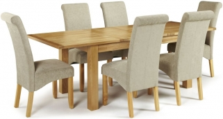 Serene Bromley Oak Dining Set - Extending with 6 Kingston Sage Plain Chairs