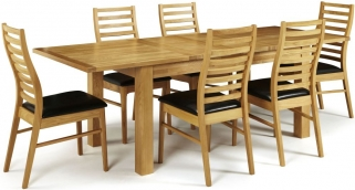 Serene Bromley Oak Dining Set - Extending with 6 Wandsworth Chairs