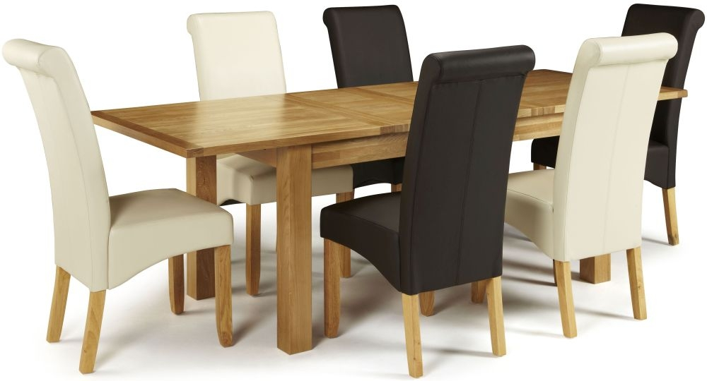 Serene Bromley Oak Dining Set - Extending with 3 Kingston Brown and 3 Cream Faux Leather Chairs