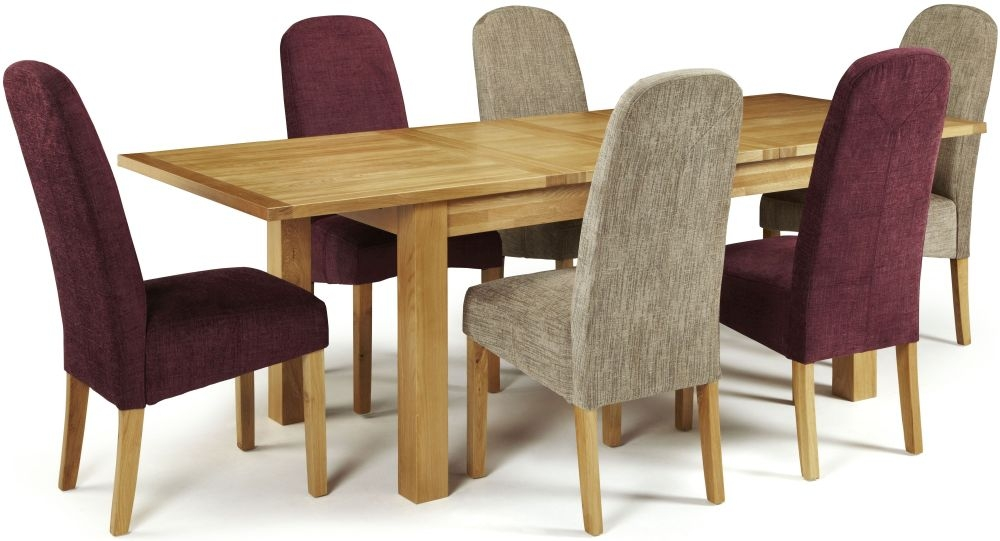 Serene Bromley Oak Dining Set - Extending with 3 Marlow Bark and 3 Shiraz Chairs