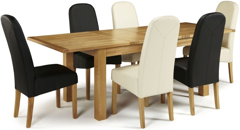 Serene Bromley Oak Dining Set - Extending with 3 Marlow Black and 3 Cream Faux Leather Chairs