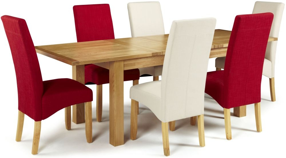 Serene Bromley Oak Dining Set - Extending with 3 Merton Putty and 3 Scarlet Chairs