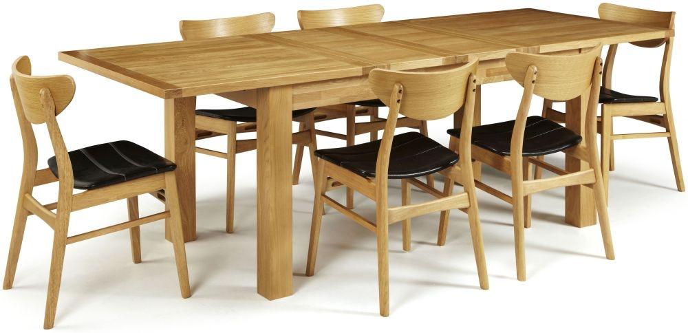 Serene Bromley Oak Dining Set - Extending with 6 Camden Oak Chairs