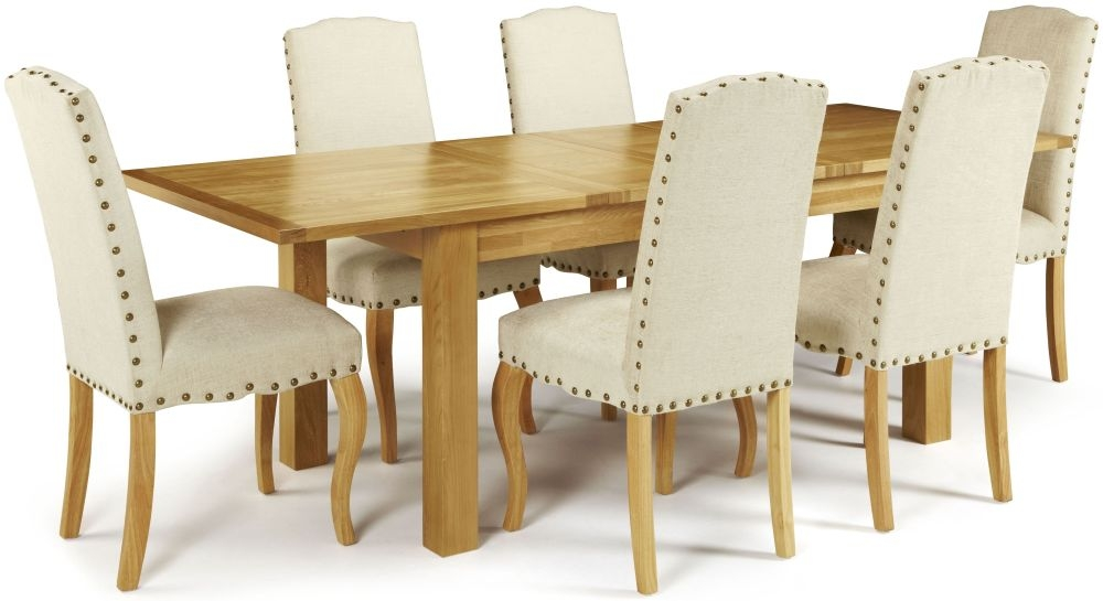 Serene Bromley Oak Rectangular Extending Dining Set with 6 Kensington Pearl Chairs - 160cm-230cm