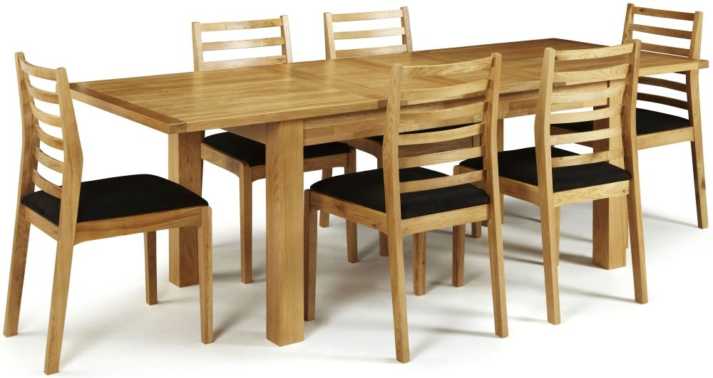 Serene Bromley Oak Dining Set - Extending with 6 Lewisham Chairs
