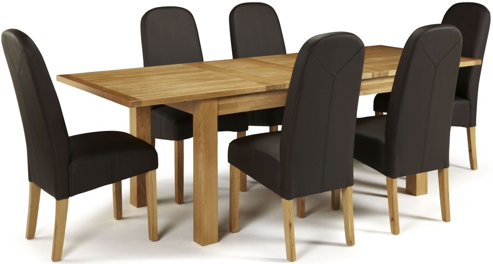 Serene Bromley Oak Dining Set - Extending with 6 Marlow Brown Faux Leather Chairs