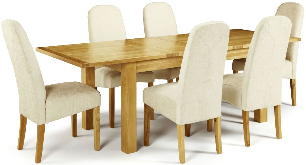 Serene Bromley Oak Dining Set - Extending with 6 Marlow Pearl Chairs