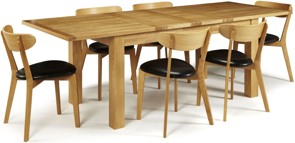 Serene Bromley Oak Dining Set - Extending with 6 Newham Chairs