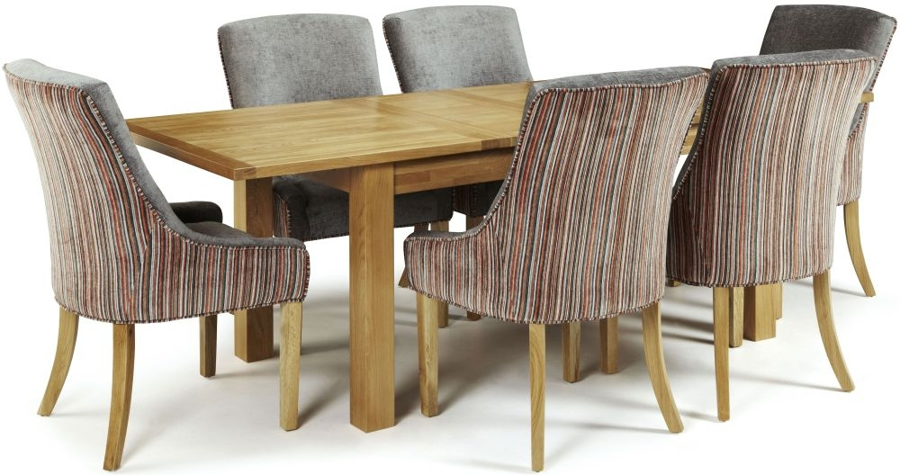 Serene Bromley Oak Dining Set - Extending with 6 Richmond Orange Steel Chairs