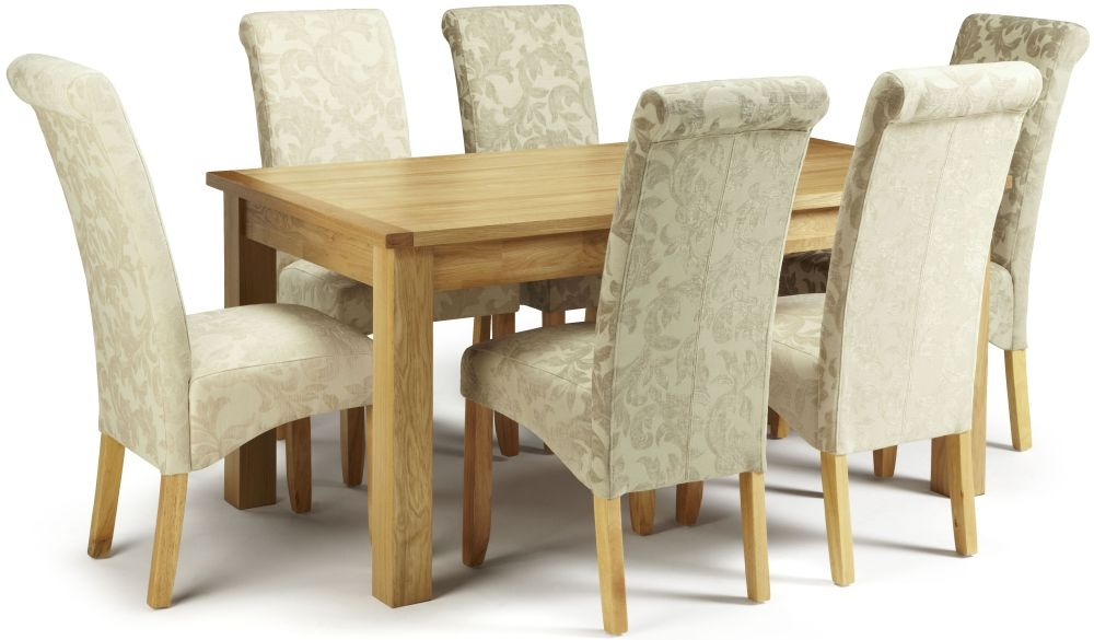 Serene Bromley Oak Dining Set - Fixed Top with 3 Kingston Sage Floral and 3 Cream Floral Chairs