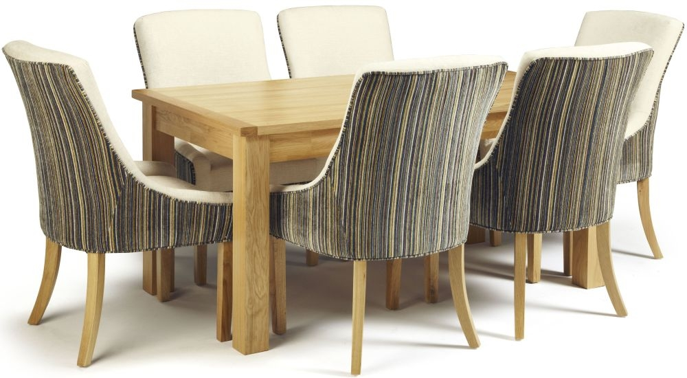 Serene Bromley Oak Dining Set - Fixed Top with 6 Richmond Aubergine Pearl Chairs
