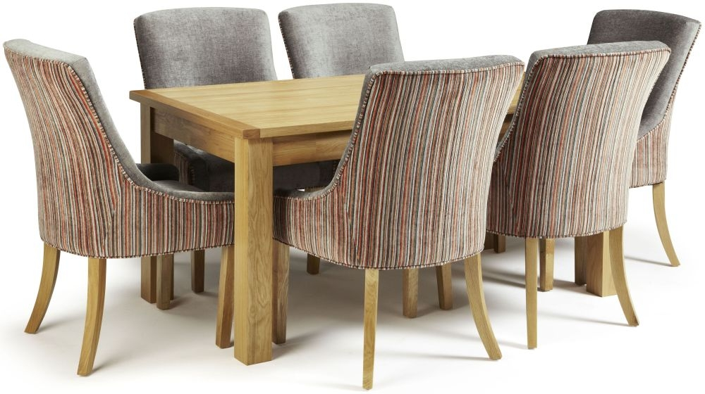 Serene Bromley Oak Dining Set - Fixed Top with 6 Richmond Orange Steel Chairs