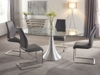Serene Cadiz Oval Glass Dining Table and 4 Grey Fabric Alicante Chairs
