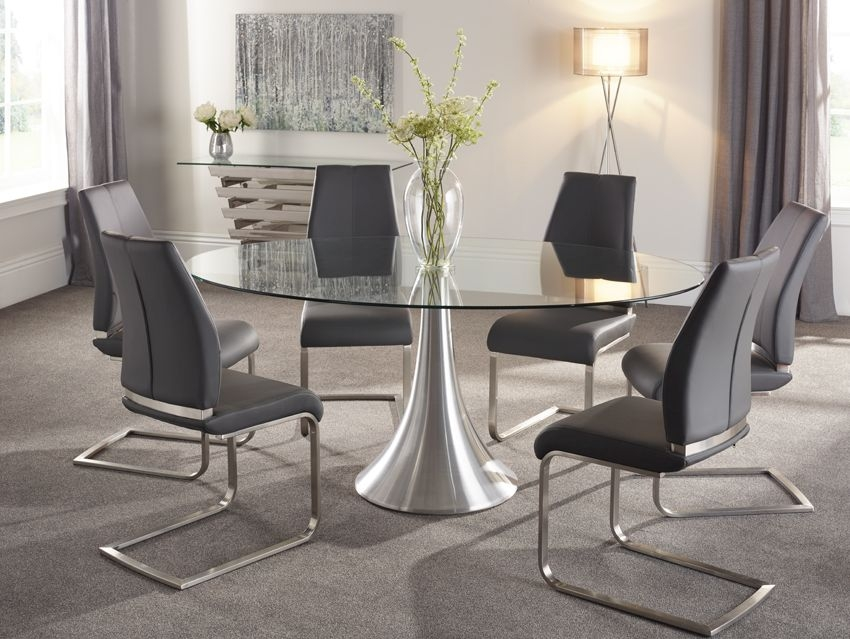Serene Cadiz Oval Glass Dining Table and 6 Grey Fabric Alicante Chairs