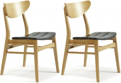 Clearance Serene Camden Oak Dining Chair with Faux Leather Seat (Pair)