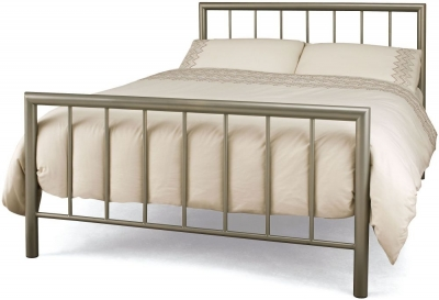 Serene Modena Champagne Metal Bed - 5ft King Size