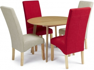 Serene Croydon Oak Dining Set - Round with 2 Merton Linen and 2 Scarlet Chairs