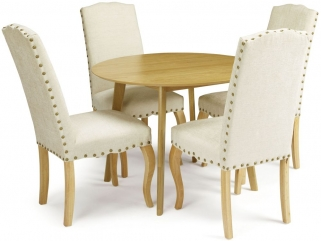 Serene Croydon Oak Dining Set - Round with 4 Kensington Pearl Chairs