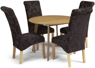 Serene Croydon Oak Dining Set - Round with 4 Kingston Aubergine Floral Chairs