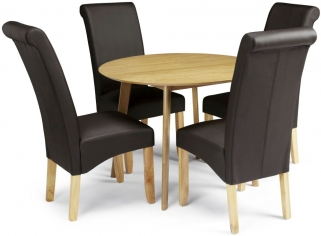 Serene Croydon Oak Dining Set - Round with 4 Kingston Brown Faux Leather Chairs