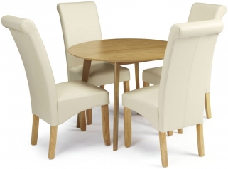 Serene Croydon Oak Dining Set - Round with 4 Kingston Cream Faux Leather Chairs