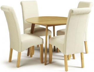 Serene Croydon Oak Dining Set - Round with 4 Kingston Cream Plain Chairs