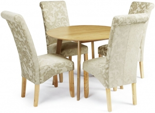 Serene Croydon Oak Dining Set - Round with 4 Kingston Sage Floral Chairs