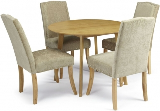 Serene Croydon Oak Dining Set - Round with 4 Knightsbridge Fudge Chairs