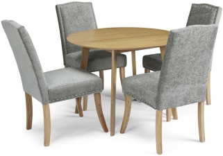 Serene Croydon Oak Dining Set - Round with 4 Knightsbridge Steel Chairs