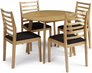 Serene Croydon Oak Dining Set - Round with 4 Lewisham Chairs