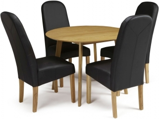 Serene Croydon Oak Dining Set - Round with 4 Marlow Black Faux Leather Chairs