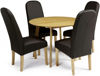 Serene Croydon Oak Dining Set - Round with 4 Marlow Brown Faux Leather Chairs
