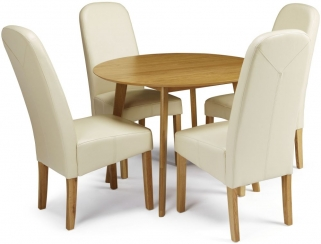 Serene Croydon Oak Dining Set - Round with 4 Marlow Cream Faux Leather Chairs