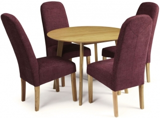 Serene Croydon Oak Dining Set - Round with 4 Marlow Shiraz Chairs