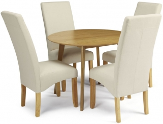 Serene Croydon Oak Dining Set - Round with 4 Merton Putty Chairs