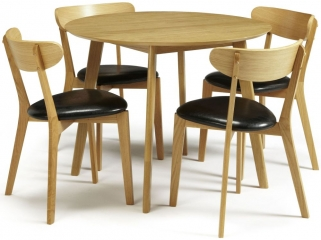 Serene Croydon Oak Dining Set - Round with 4 Newham Chairs
