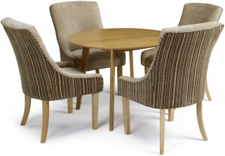 Serene Croydon Oak Dining Set - Round with 4 Richmond Sand Mink Chairs