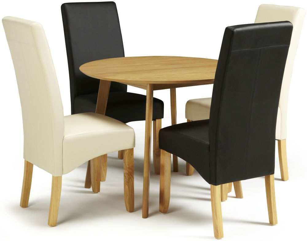Serene Croydon Oak Dining Set - Round with 2 Merton Black and 2 Cream Faux Leather Chairs