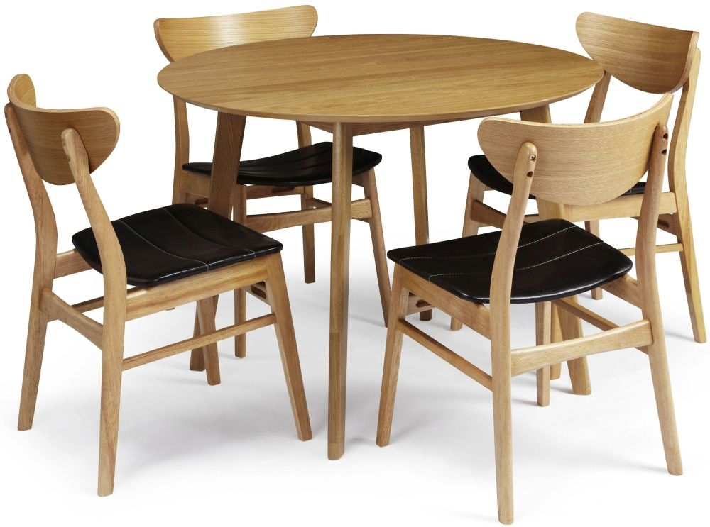 Serene Croydon Oak Dining Set - Round with 4 Camden Chairs