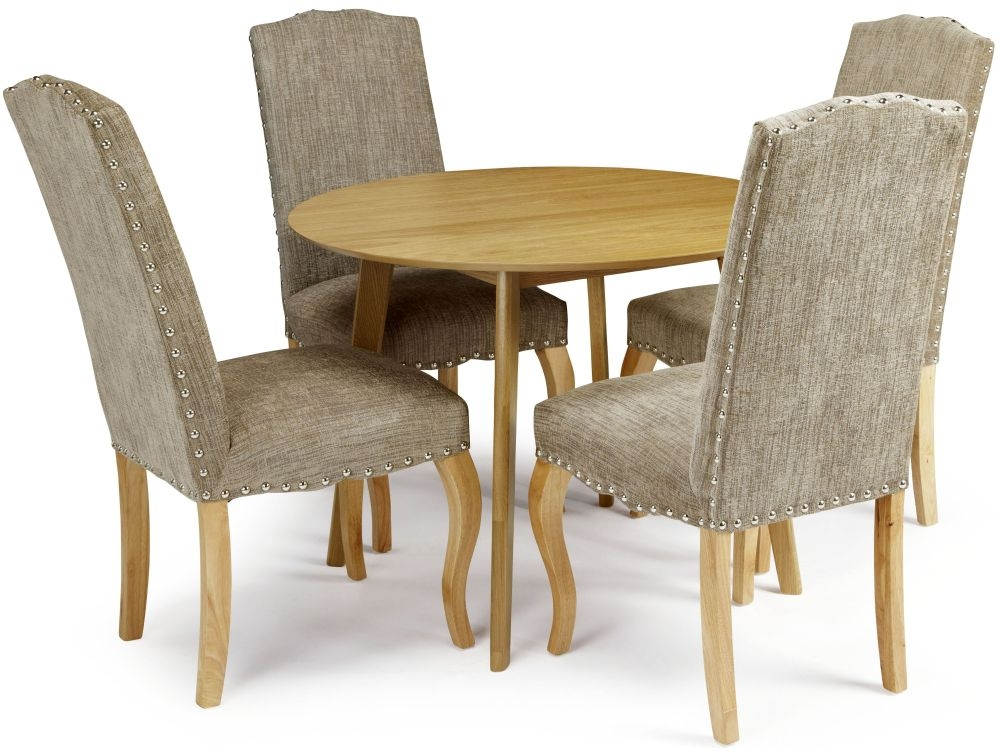 Serene Croydon Oak Round Dining Table and 4 Bark Fabric Kensington Chairs