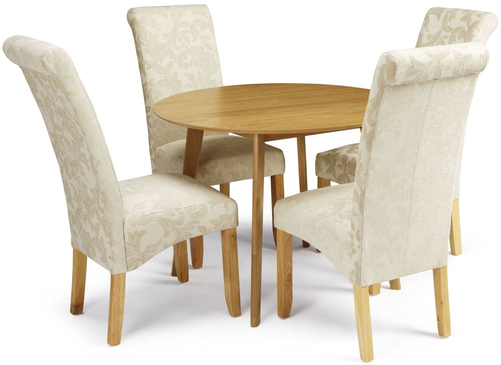 Serene Croydon Oak Dining Set - Round with 4 Kingston Cream Floral Chairs