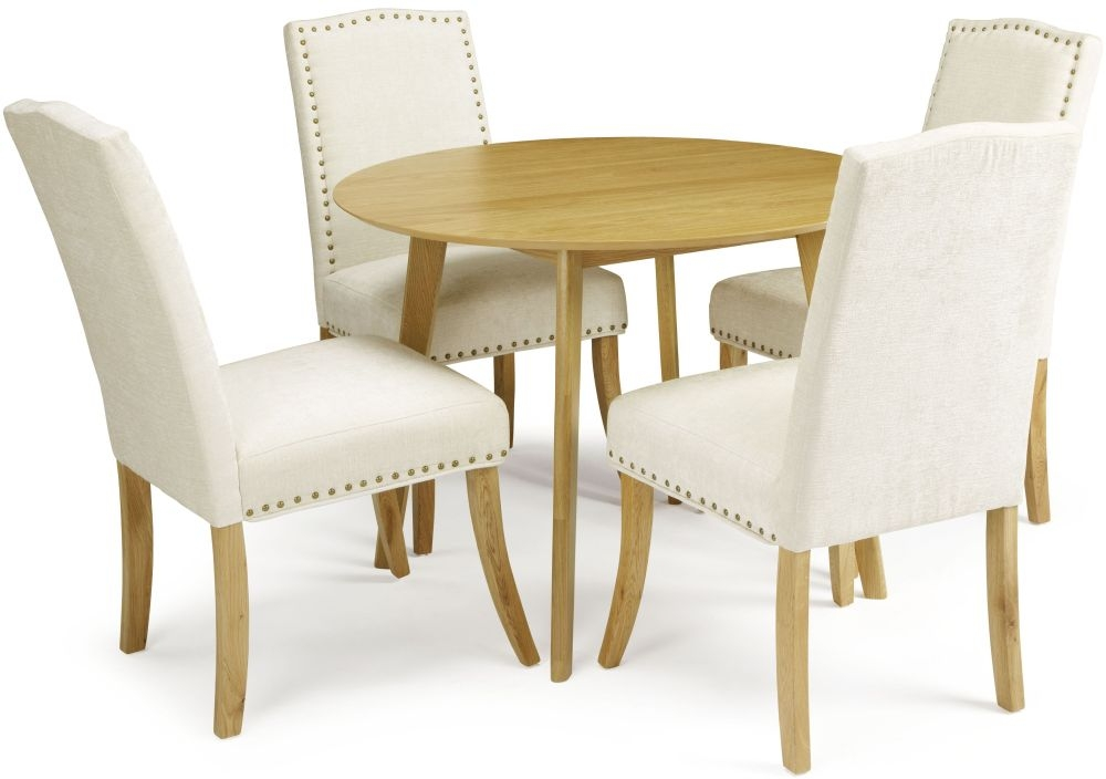 Serene Croydon Oak Dining Set - Round with 4 Knightsbridge Pearl Chairs