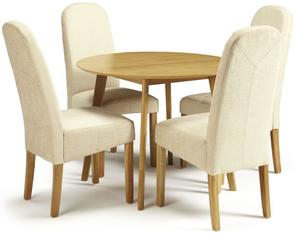 Serene Croydon Oak Dining Set - Round with 4 Marlow Pearl Chairs