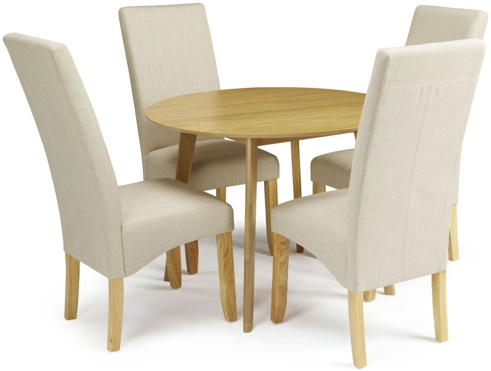 Serene Croydon Oak Dining Set - Round with 4 Merton Stone Chairs