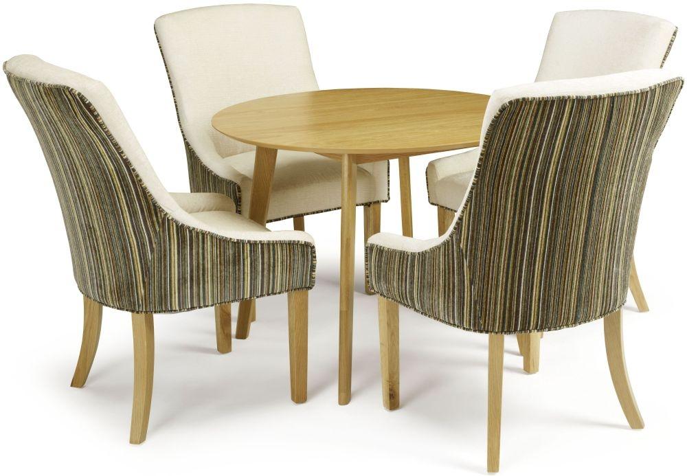 Serene Croydon Oak Dining Set - Round with 4 Richmond Aubergine Pearl Chairs