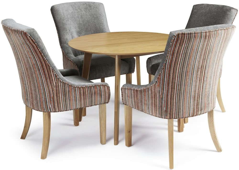 Serene Croydon Oak Dining Set - Round with 4 Richmond Orange Steel Chairs