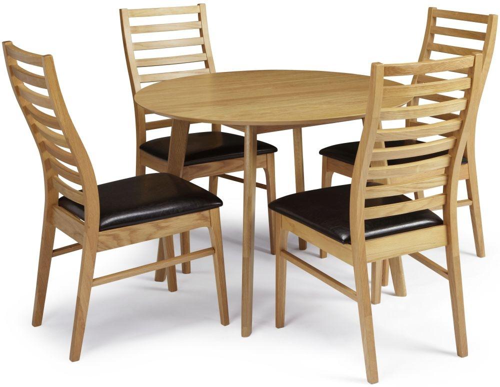 Serene Croydon Oak Dining Set - Round with 4 Wandsworth Chairs