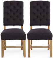 Serene Belmont Aubergine Fabric Dining Chair with Oak Legs (Pair)