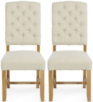 Serene Belmont Cream Fabric Dining Chair with Oak Legs (Pair)